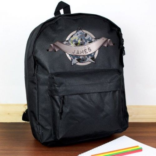 Army Camo Black Backpack